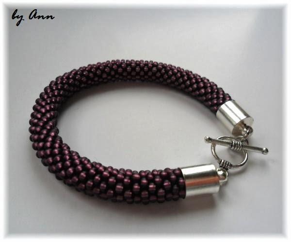 bransoletka typu croched rope szklane koraliki ciemny fioletowa
