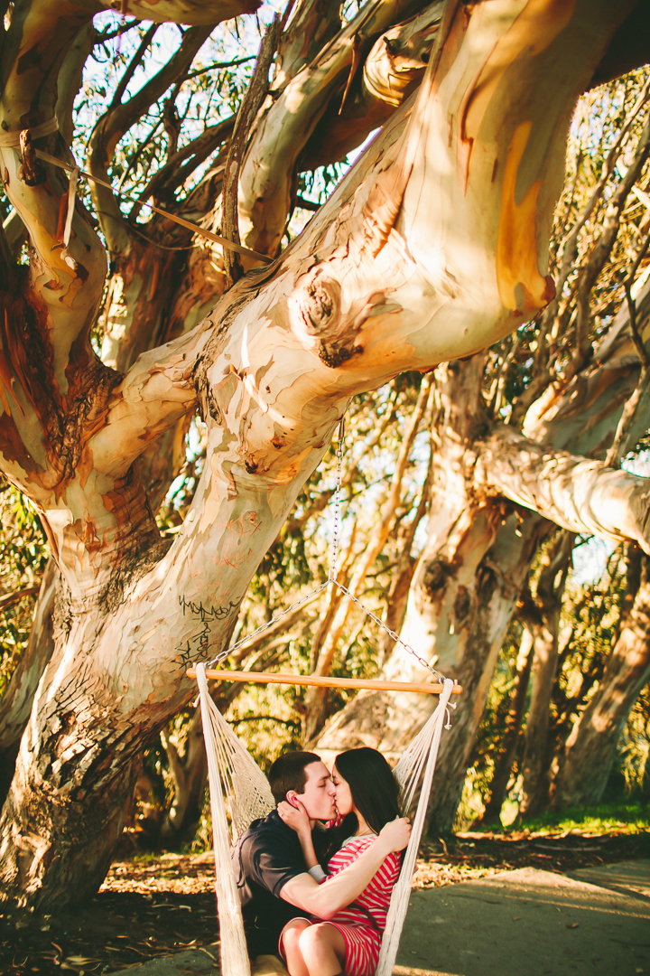 Love, couple kissing in hammock, engagement photos in hammock, Santa Cruz