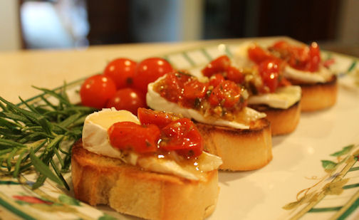 Herb Roasted Tomato and Brie Bruschetta - Just~One~Donna