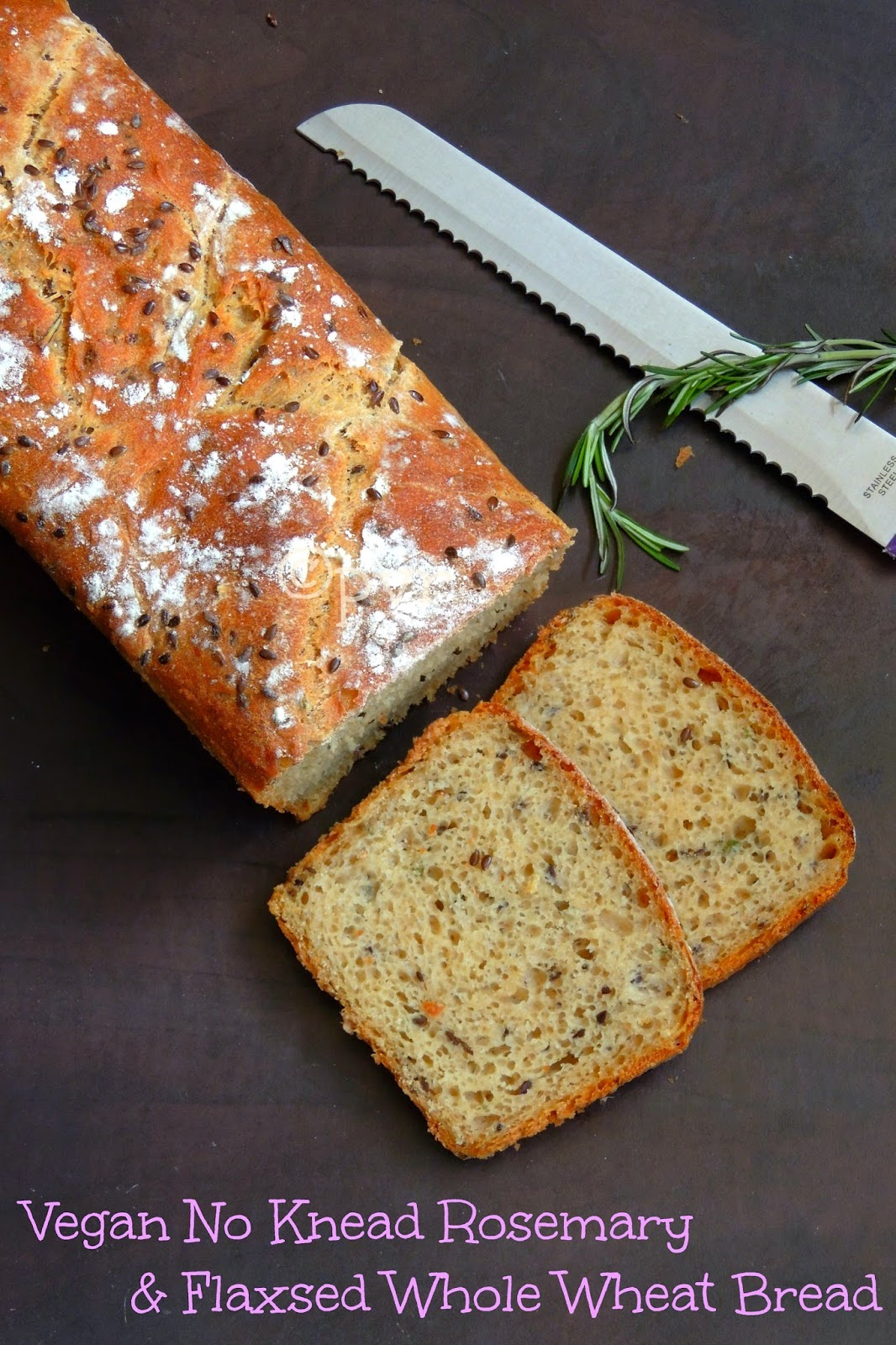 No knead vegan rosemary and flaxseed bread, no knead wholewheat bread, Vegan no knead loaf bread