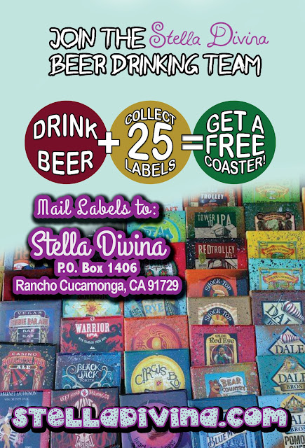 Drink Beer and Get a Free Coaster at Stella Divina , She needs your old labels!