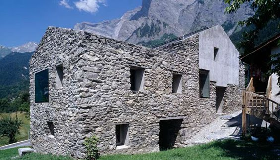 Rustic natural stone swiss house alps switzerland most for Beautiful natural houses