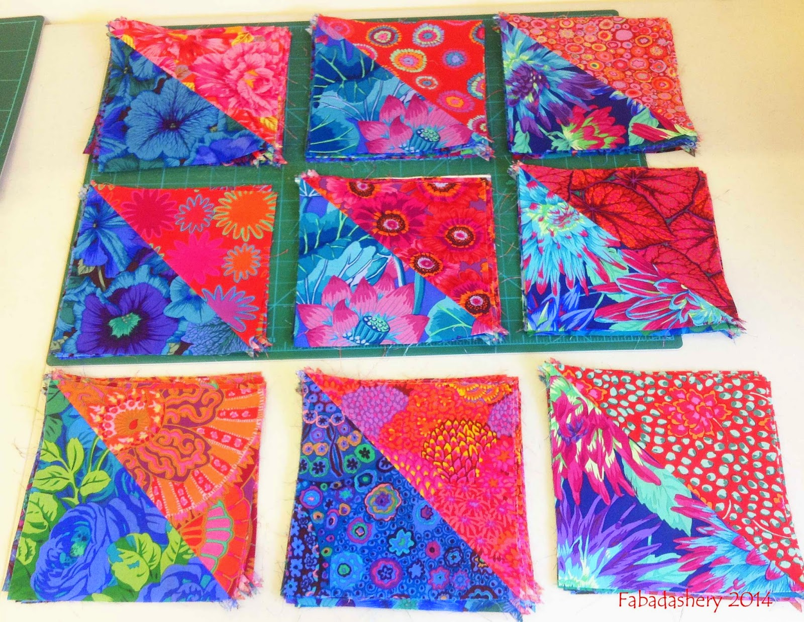 Half Square Triangles - Kaffe Fassett fabric