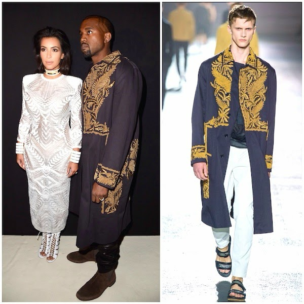 Kanye West wears Dries Van Noten Spring Summer 2014 gold embroidered coat to Balmain womenswear Spring Summer 2015 show at Paris Fashion Week.jpg