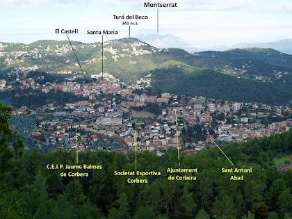 Corbera de Llobregat des del mirador del Puig Montmany