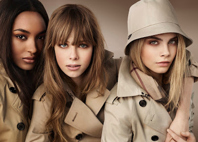 British models Cara Delevingne, Jourdan Dunn and Edie Campbell for Burberry beauty campaign summer 2012