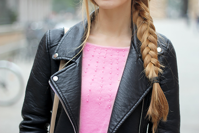 Zara leather biker jacket, black and pink, casual fall outfit