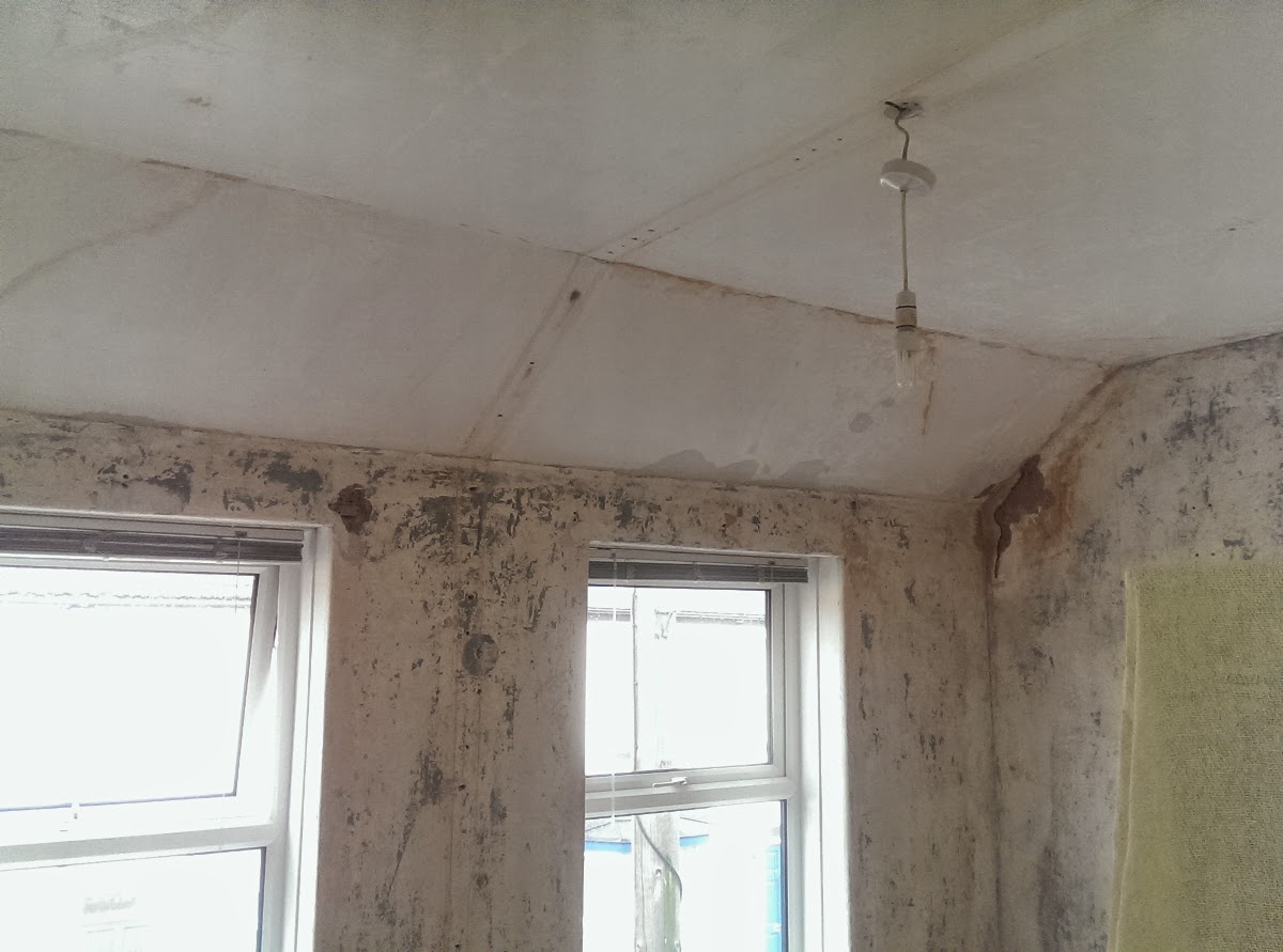 The Damaged Walls And Curved Ceiling Of This Room In A House Broadstairs,  Kent Have Been Repaired, Plastered And Painted To A Smooth Finish.
