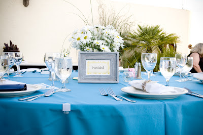 Beach Wedding Table Setting - Daisies, Rafia,Teal Blue, Barn Wood