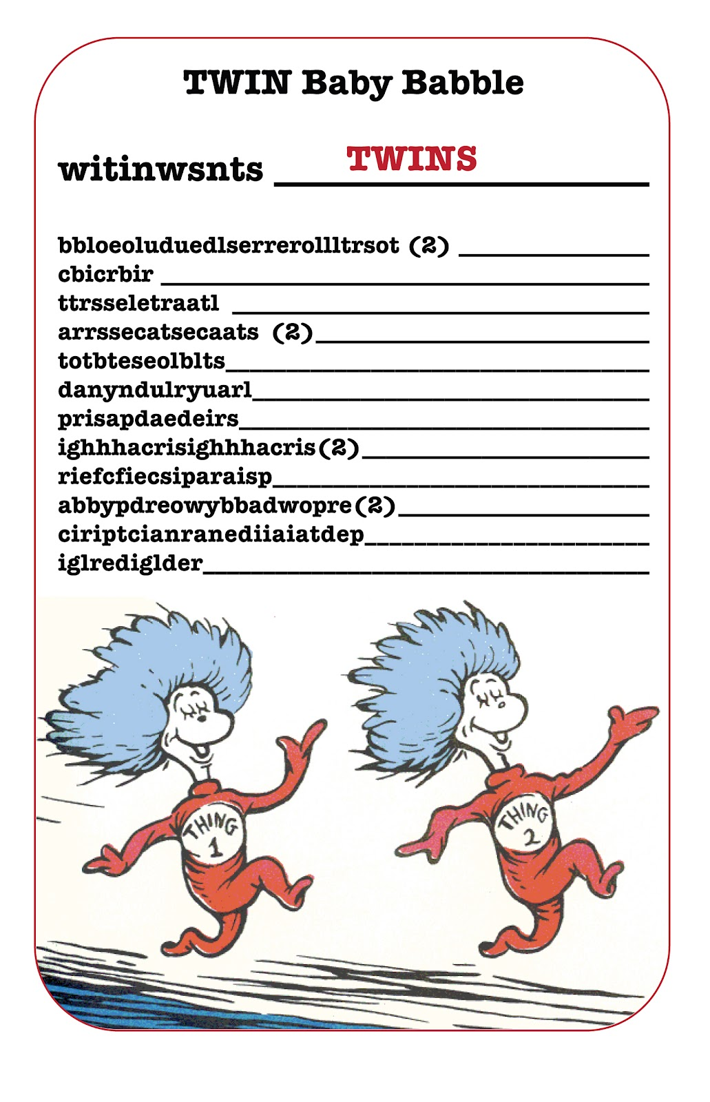 103 Best Baby Shower Thing 1 N Thing 2 Dr.Seuss Images On Pinterest | Thing  1 Thing 2, Twin Baby Showers And Shower Ideas