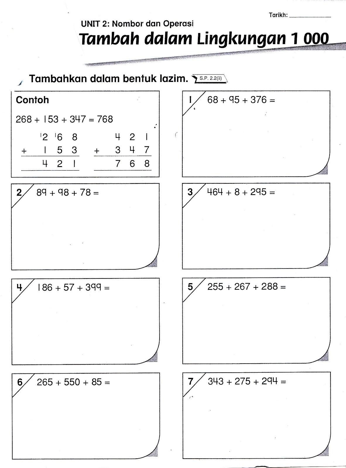 Sudut Matematik Lembaran Kerja 3 Operasi Tambah