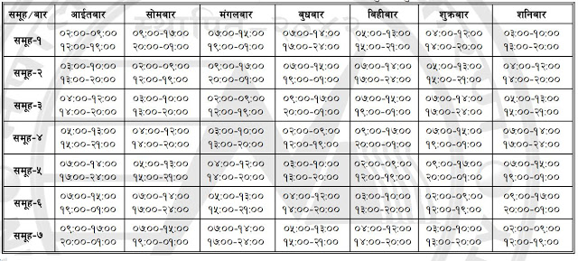 New Loadshedding Schedule Effective From Magh 6 2069