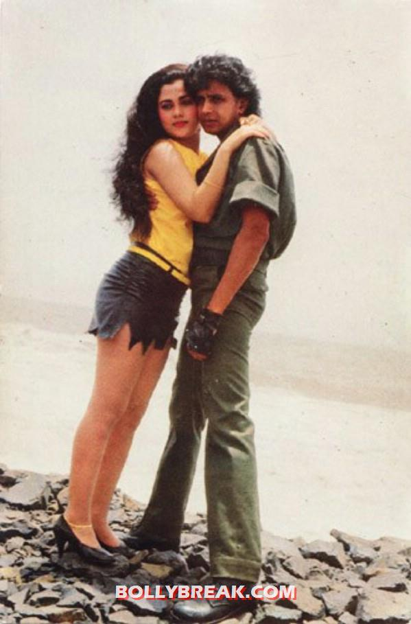 Mandakini weearing shorts with Mithun - (7) - Mandakini hot photos from the Old Times