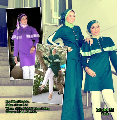 Katalog Busana Muslim Mazaya Hijau botol Ungu sedang