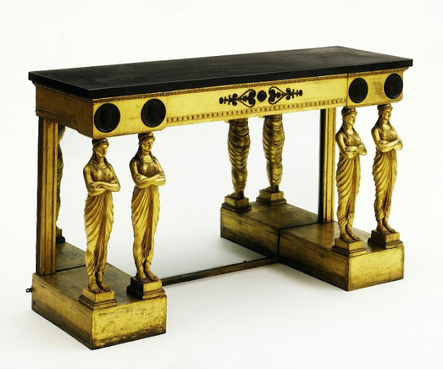 Thomas Hope. Pier table, with pairs of caryatids. ca. 1800.  Gilded pine, with black marble, mirror glass and bronze mounts.  Victoria and Albert Museum. London, UK.