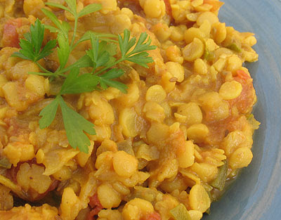 Indian style yellow split pea curry