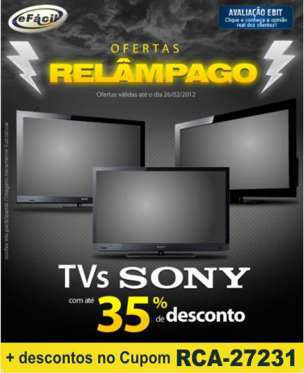 Cupom Efácil - TVs Sony com até 35% de desconto