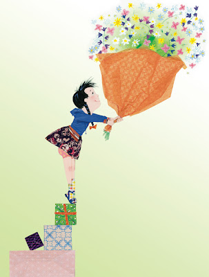 illustration of a girl presenting a bunch of flowers for mothers day by robert wagt
