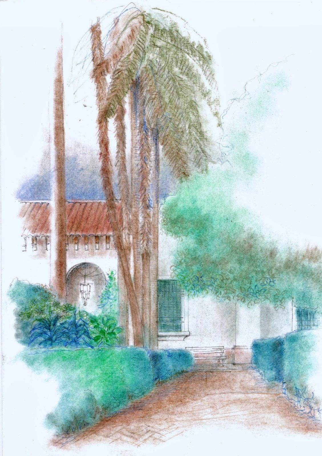 Urban sketchers argentina un jard n andaluz for Jardin andaluz