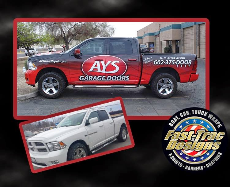 Vehicle wraps and screen printing by fast trac designs for Garage wraps