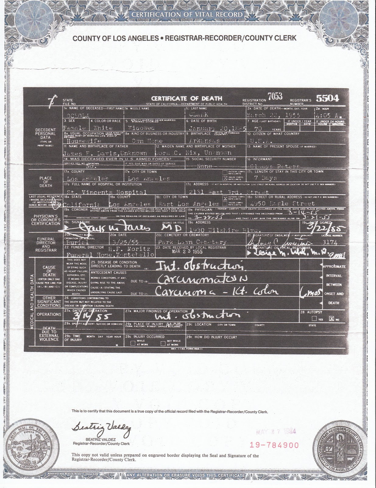 The post emailfake news site and birtherisms last bastionpart here is a certified copy of a 1955 california death certificate it has the same format as my brothers birth certificate certified copy issued in 2002 aiddatafo Images