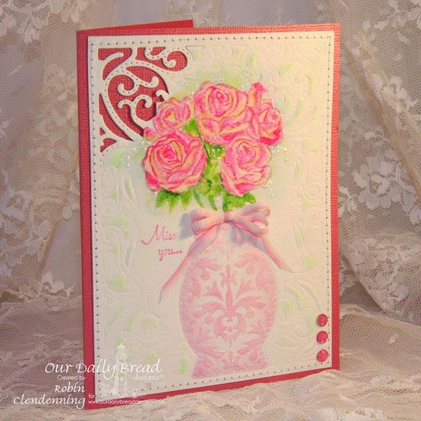 Our Daily Bread Designs- Rose Bouquet, Decorative Vase Die, Vintage Flourish Pattern Die, Designer- Robin Clendenning