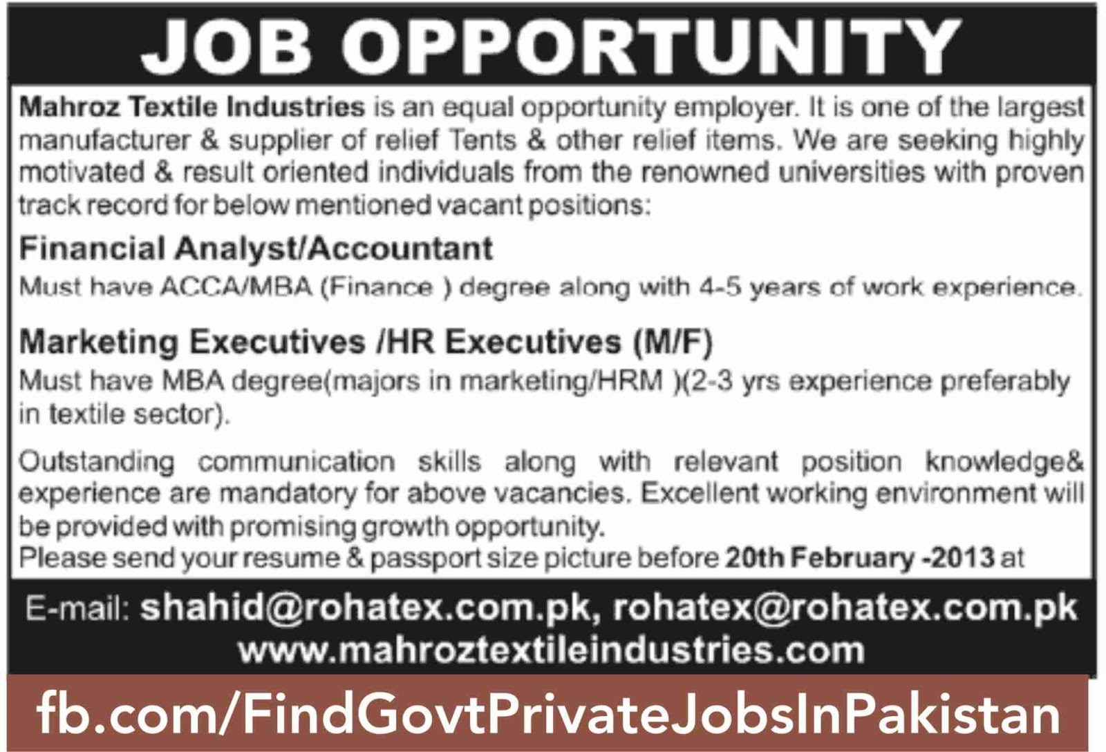 job opportunity in jang sunday ads