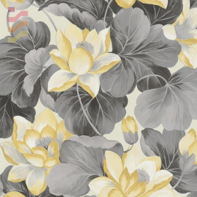 tapeta w kwiaty żółte i szare odcienie