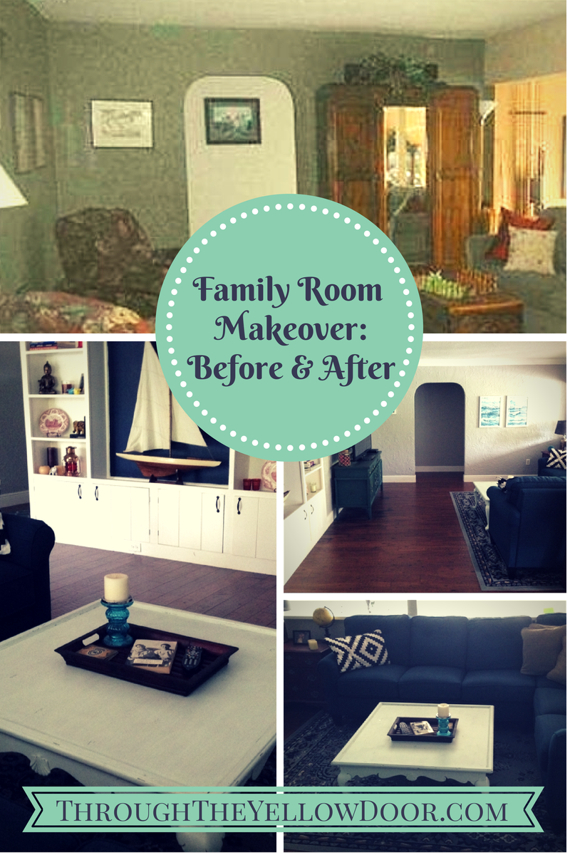 Through the Yellow Door FamilyLiving Room Makeover Before And After