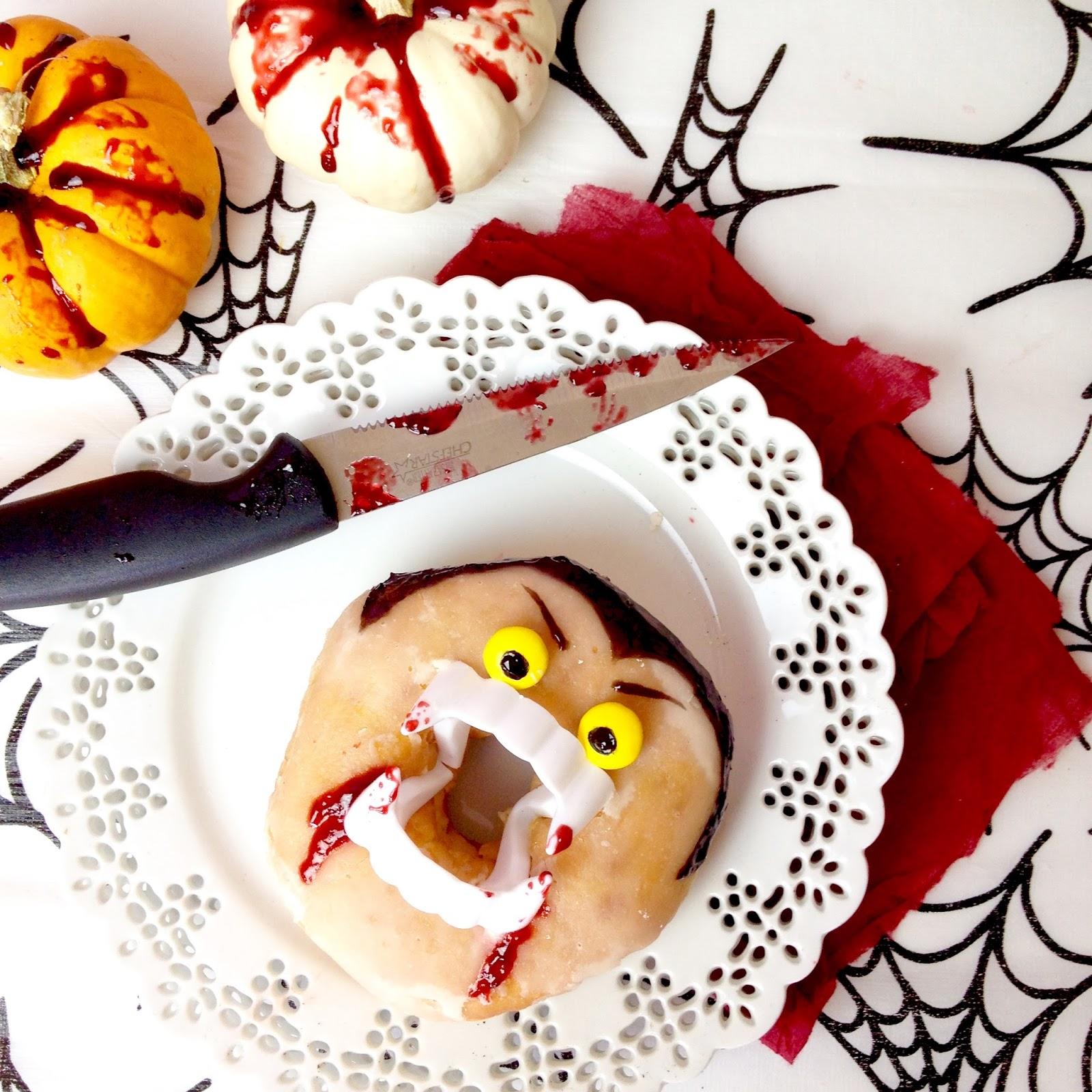 video} halloween vampire doughnuts (dracula donuts) - lindsay ann bakes