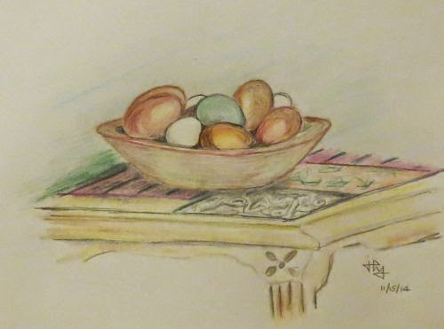drawing of eggs in a wooden bowl