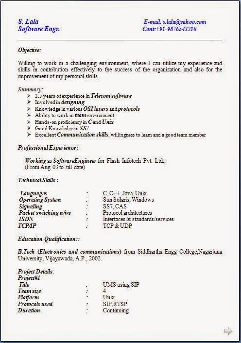 Resume Format For Job Application Download