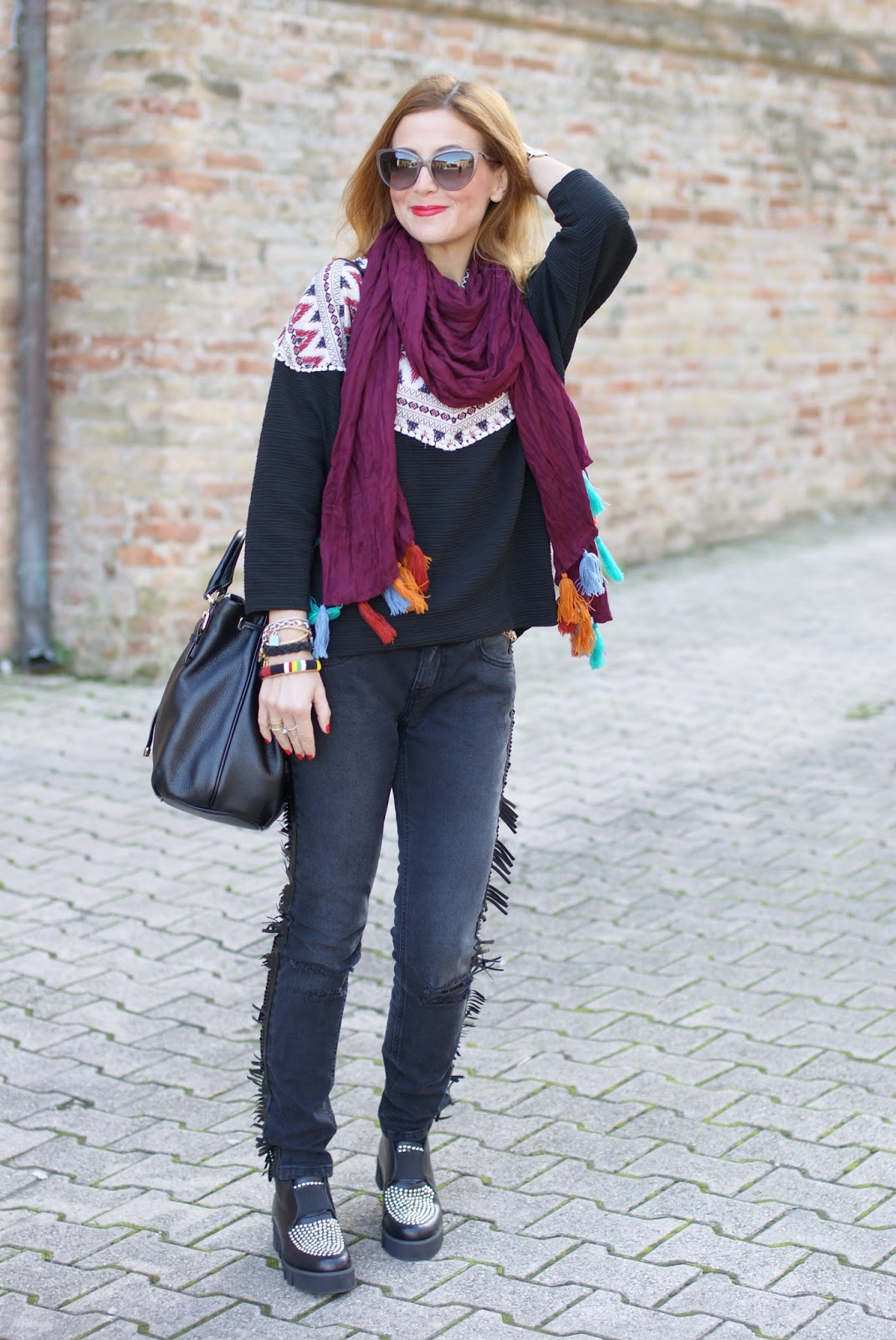 Fringed jeans and tassel scarf on Fashion and Cookies fashion blog, fashion blogger style
