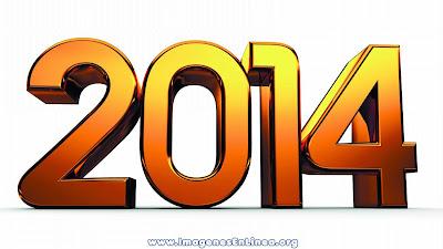 Feliz 2014, tarjeta con letras de oro