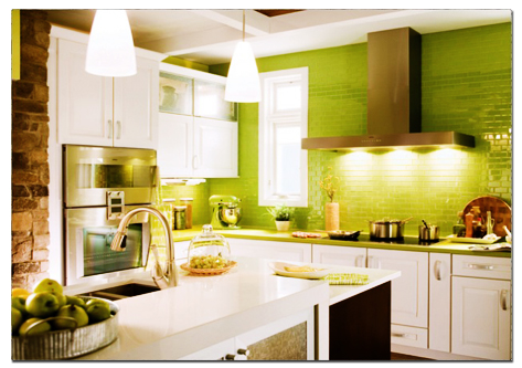 Kitchen on Small White Kitchen Highlighted With Apple Green Tiles