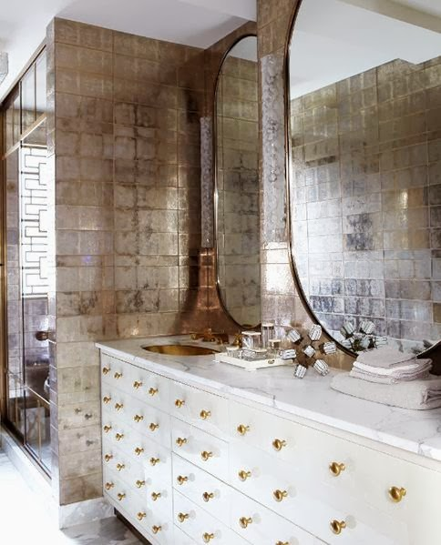 Kelly Wearstler bathroom gold tile sink knobs