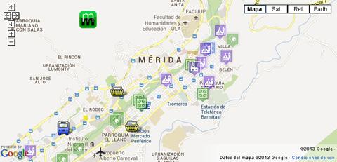 Mapa de Mérida. Venezuela. Sitios de Interés Turístico. Parques Temáticos. Plazas. Iglesias.