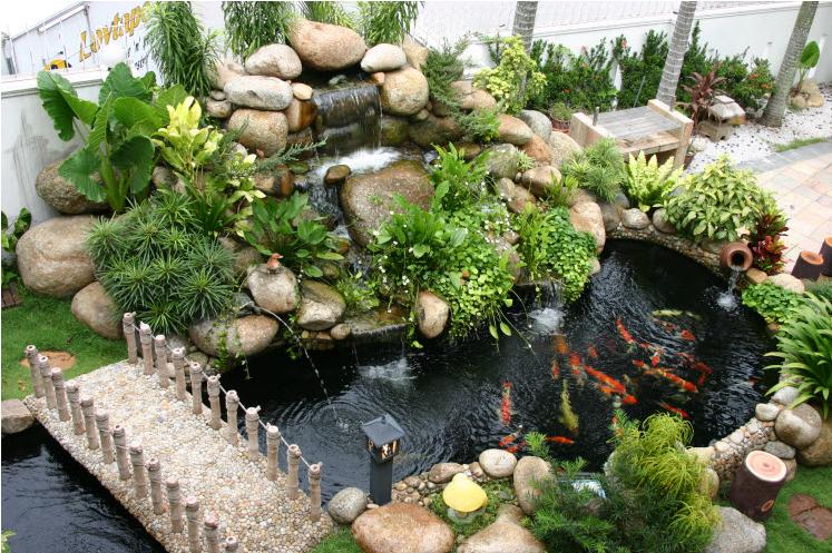 Water feature garden landscape design for Garden pond design malaysia