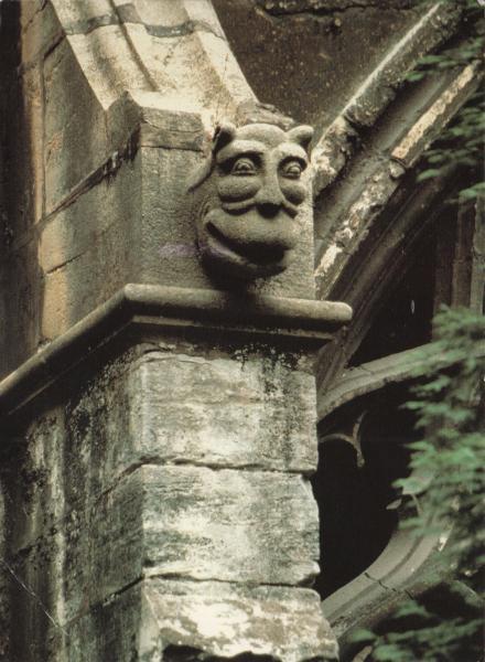 postcard of a stone gargoyle