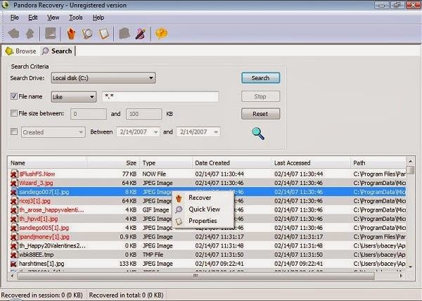 برنامج مجاني لأستعادة الملفات المفقودة أو المحذوفة نهائياً من جهازك Pandora Recovery free 2.1.1