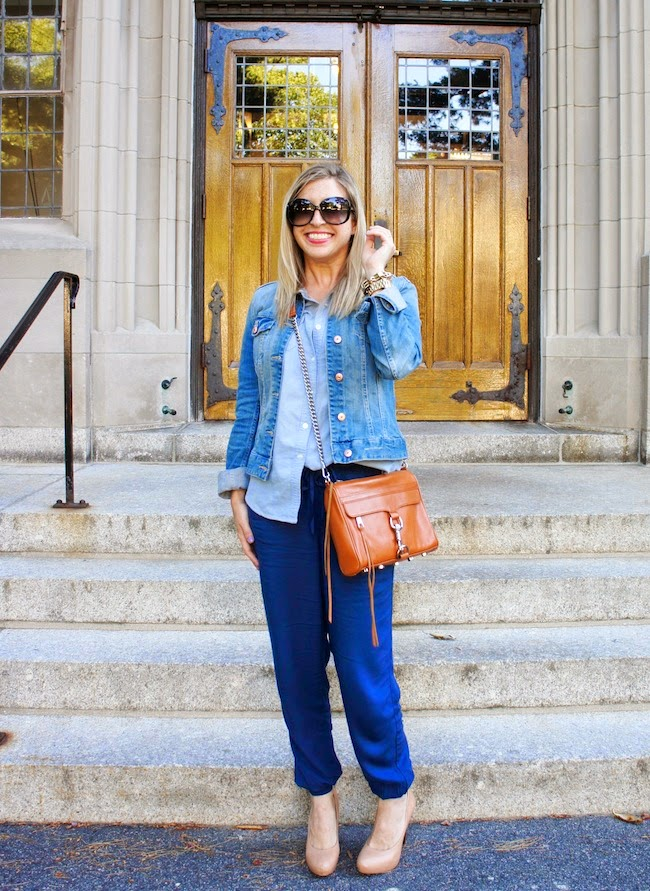 Abercrombie and Fitch Olivia Drapey Pants, chambray shirt, denim jacket, Cambridgeside Galleria