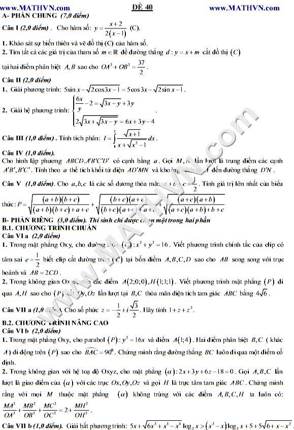 de thi thu dai hoc 2012, đề thi thử đại học 2012 môn toán