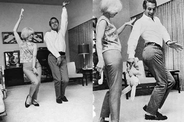 Joanne Woodward and Paul Newman dancing