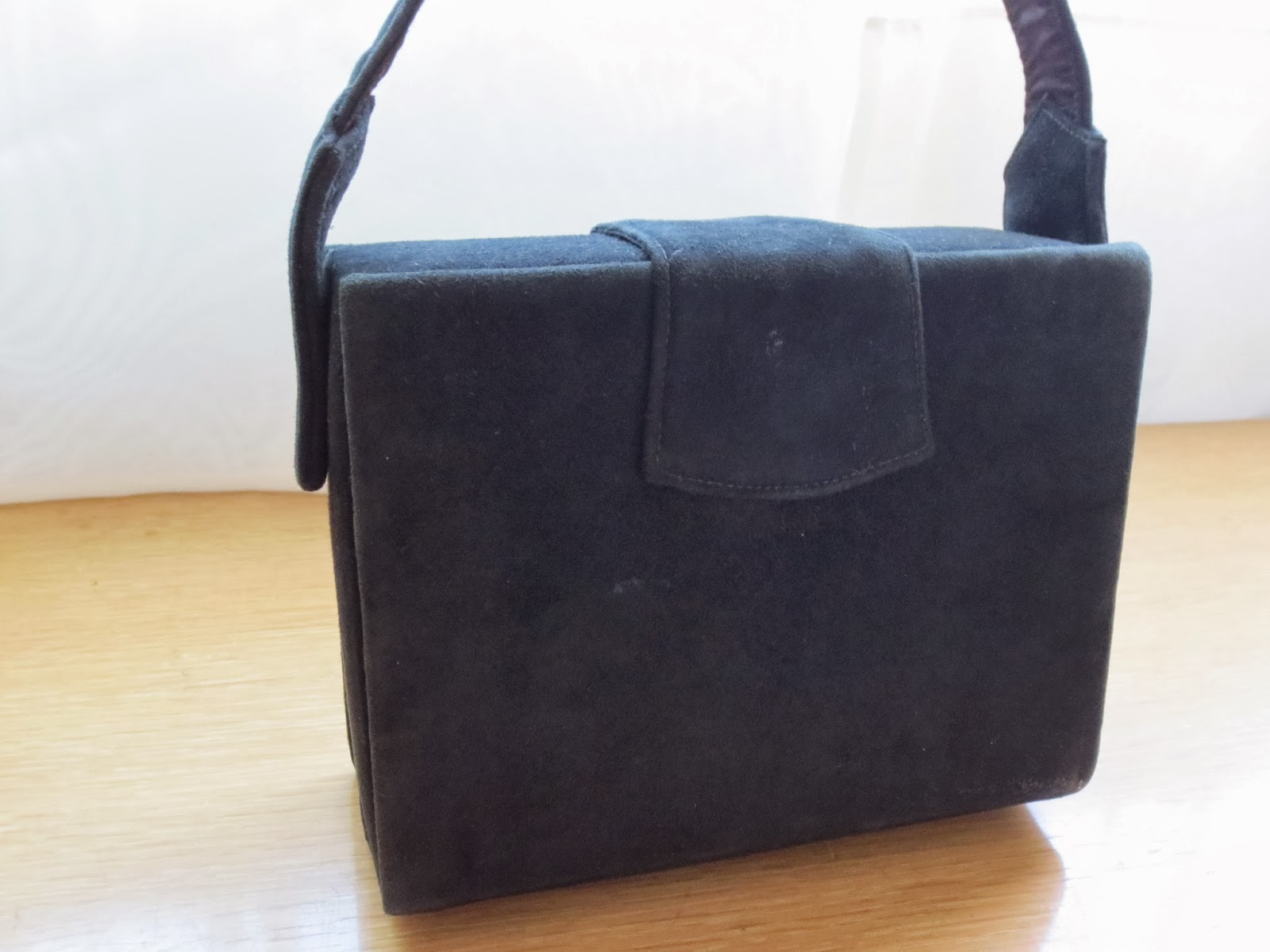 1940s black suede box purse via Brentwood Lane