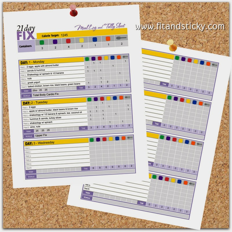 21 day fix meal log and tally sheet fit and sticky