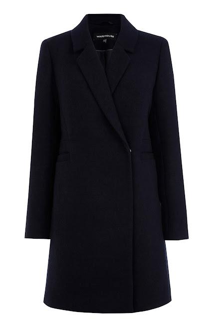 warehouse navy coat, navy plain wool coat, one button navy coat,