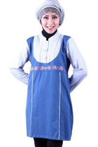 Naf1ah Blus N47 - Biru Tua Abu (Toko Jilbab dan Busana Muslimah Terbaru)