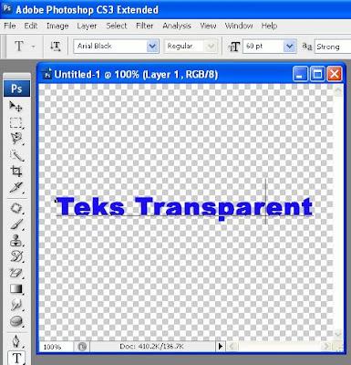 Cara membuat teks efek transparent