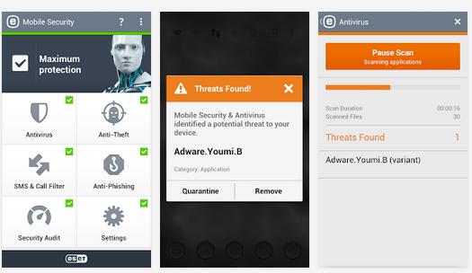 تطبيق مجاني للأندرويد لحماية جهازك من الفيروسات والتهديدات ESET Mobile Security-2.0.815.0-APK
