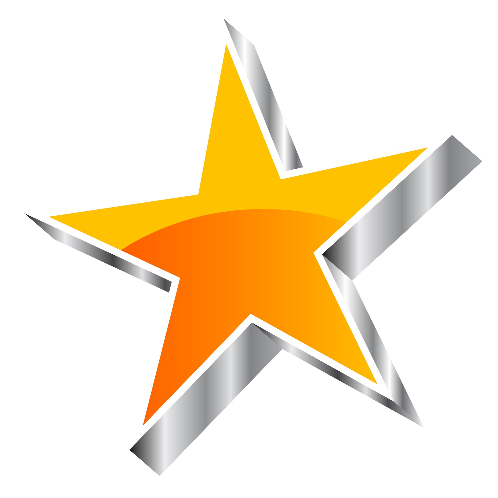Orange or yellow glossy vector star with silver elements.